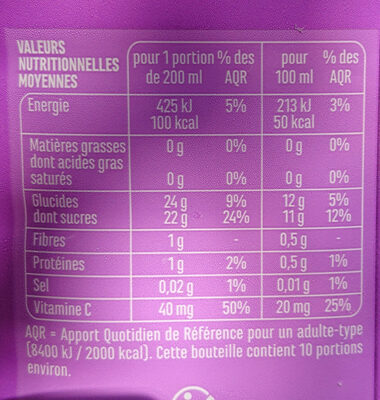 100% Pur Jus Multifruits - Informations nutritionnelles - fr