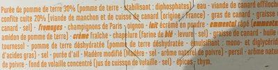 Parmentier Effiloché de canard confit - Ingrédients - fr