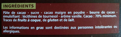 Chocolat Noir Dégustation 70% Cacao intense - Ingrédients - fr