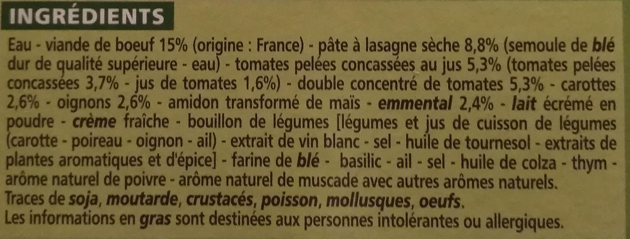 Lasagnes Bolognaise - Ingredienti - fr