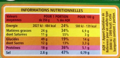 Lasagnes Saumon Poireaux - Voedingswaarden - fr