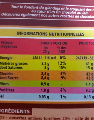 Lait Gianduja noisettes entières - Nutrition facts