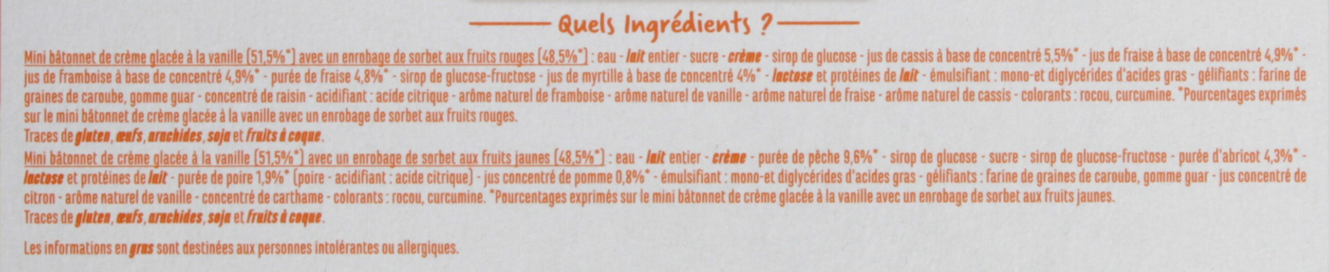 Les minis Vanille enrobage sorbets fruits rouges-fruits jaunes x8 - Ingredients