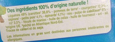 Légumes Cabillaud Riz avec morceaux - Ingredients - fr