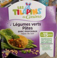Légumes verts Pâtes avec morceaux repas du soir - Produit - fr