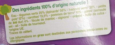 Légumes verts Pâtes avec morceaux repas du soir - Ingrédients - fr