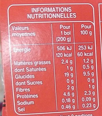 Courgettes Veau Riz avec morceaux - Voedingswaarden - fr