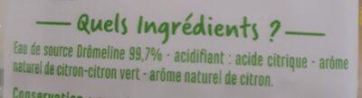 Eau Source Drômeline Saveur Citron Citron Vert - Ingrediënten - fr