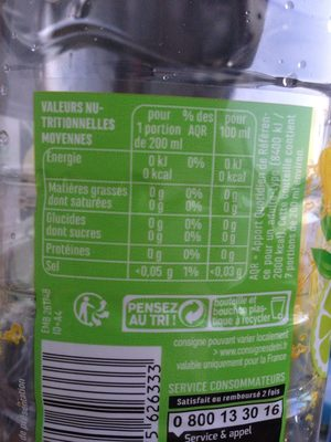 Eau Source Drômeline Saveur Citron Citron Vert - Voedingswaarden - fr