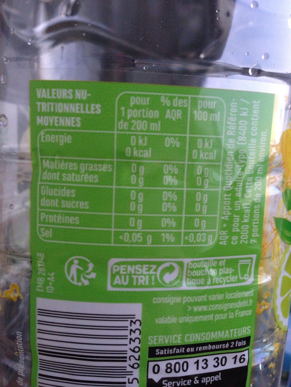 Eau aromatisé citron citron vert - Voedigswaarden