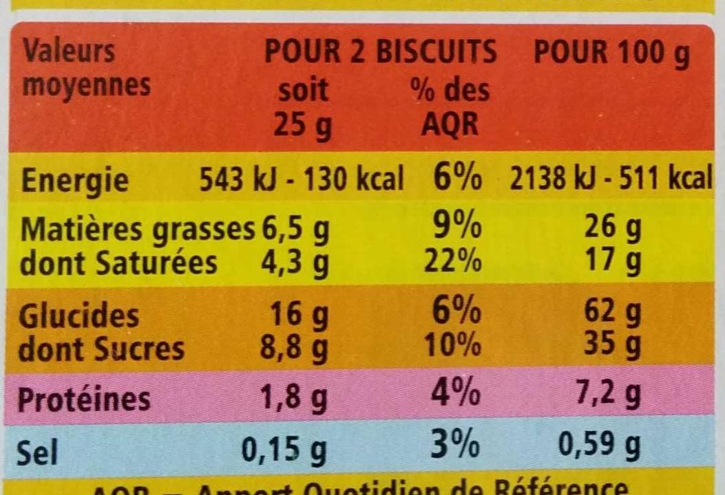 Petit beurre tablette de chocolat au lait - Voedigswaarden