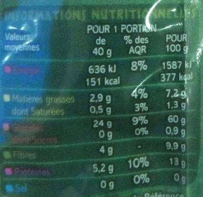 Flocons d'avoine complets - Voedigswaarden