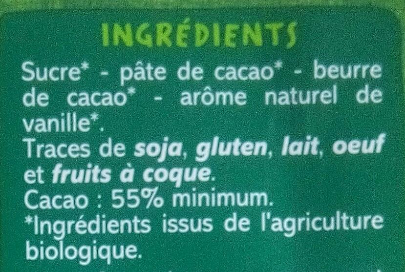 Chocolat noir dessert 55% de cacao - Ingrediënten - fr