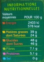 Chocolat noir dessert 55% de cacao - Voedingswaarden - fr