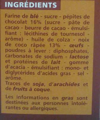 Cookies Pépites de Chocolat et Noix de Coco - Ingrédients - fr