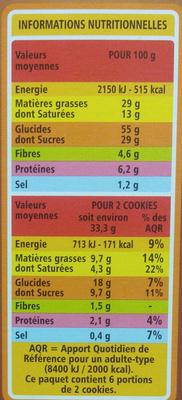 Cookies Pépites de Chocolat et Noix de Coco - Informations nutritionnelles