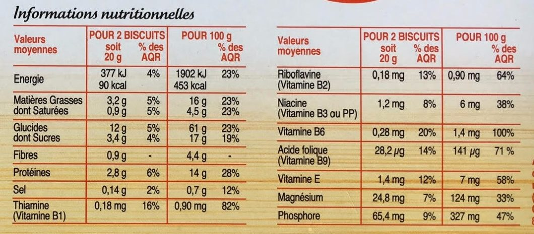 Biscuits soja orange - Informations nutritionnelles - fr