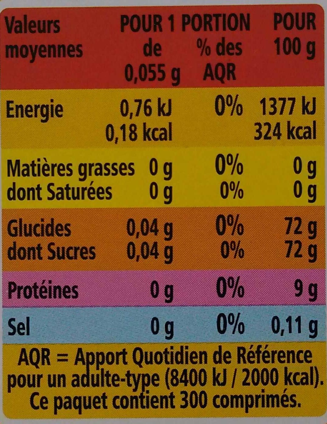 Édulcorant de Table - Informations nutritionnelles - fr
