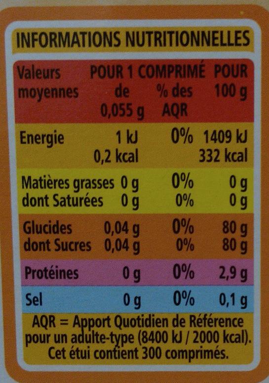 Edulcorant à base de sucralose - Informations nutritionnelles - fr