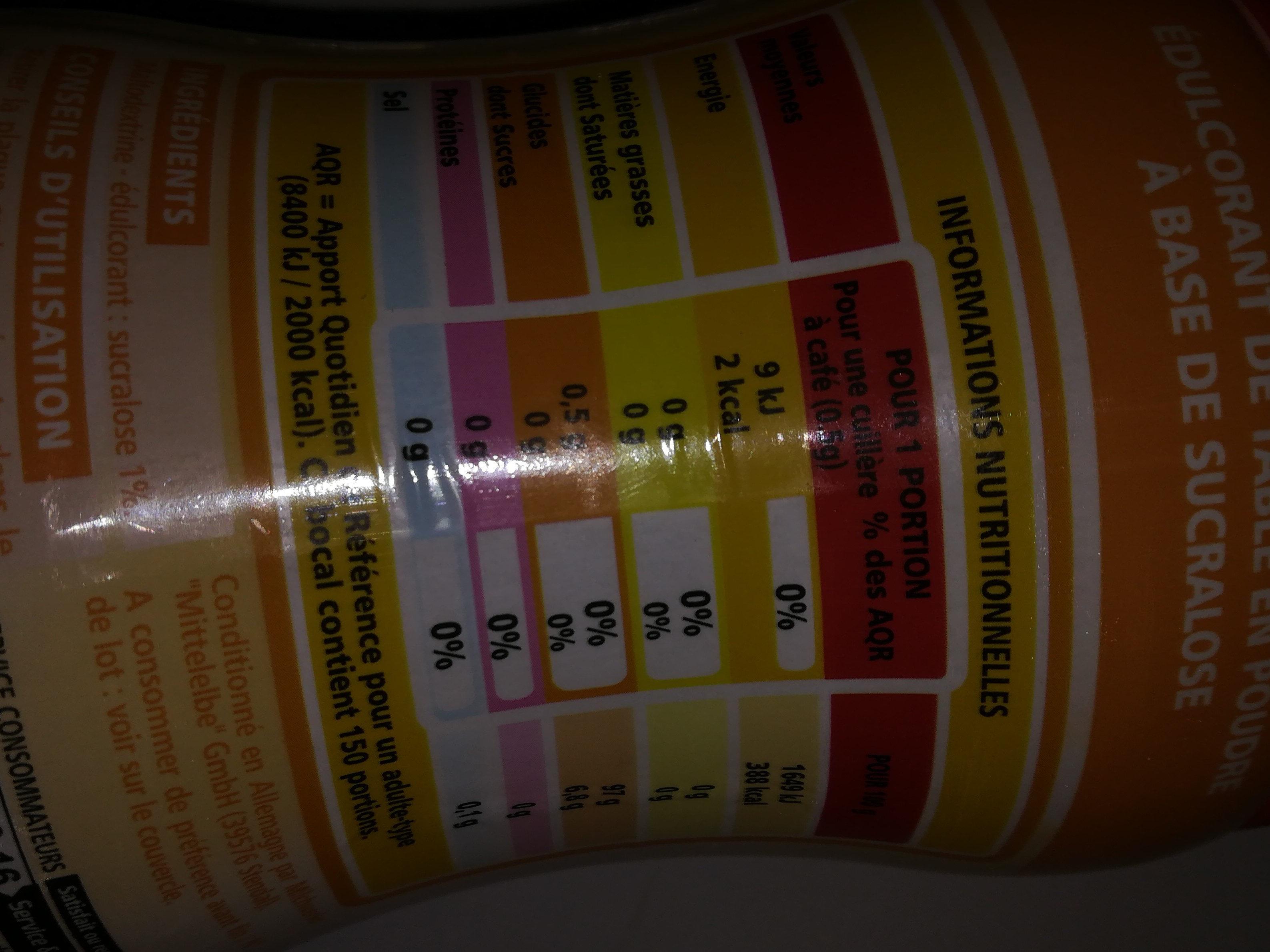 Edulcorant de table à base de sucralose en poudre - Informations nutritionnelles
