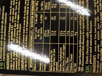 Chocolat Noir st domingue aux eclats de postaches - Ingredients