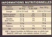 Chocolat Noir st domingue aux eclats de postaches - Nutrition facts