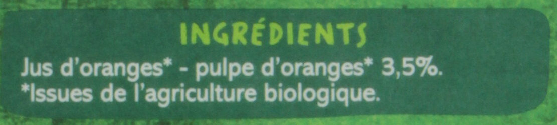 100% Pur Jus Orange BIO réfrigéré - Ingrediënten