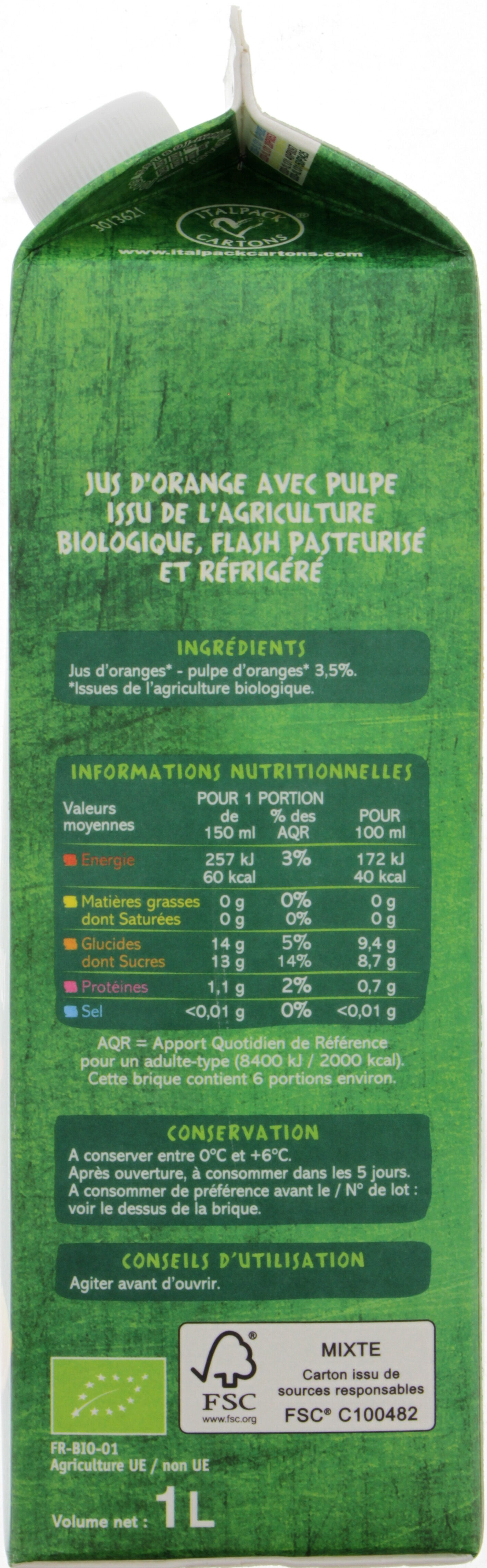 100% Pur Jus Orange BIO réfrigéré - Voedingswaarden