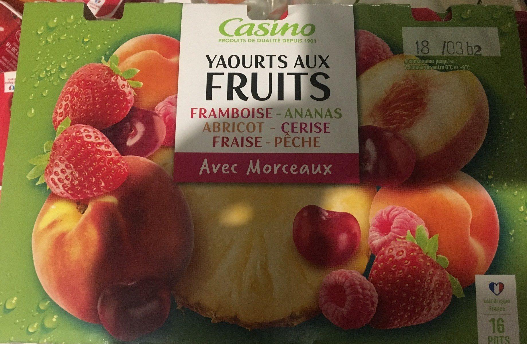 Yaourts aux fruits - Framboise, ananas, abricot, cerise, fraise, pêche - Product