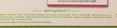 Yaourts aux fruits - Framboise, ananas, abricot, cerise, fraise, pêche - Ingredients