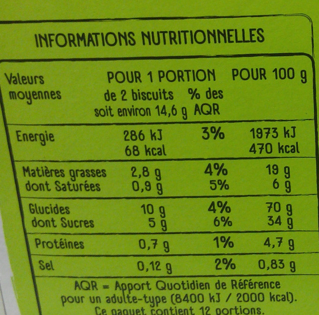 Biscuits contre-type oreo - Informations nutritionnelles