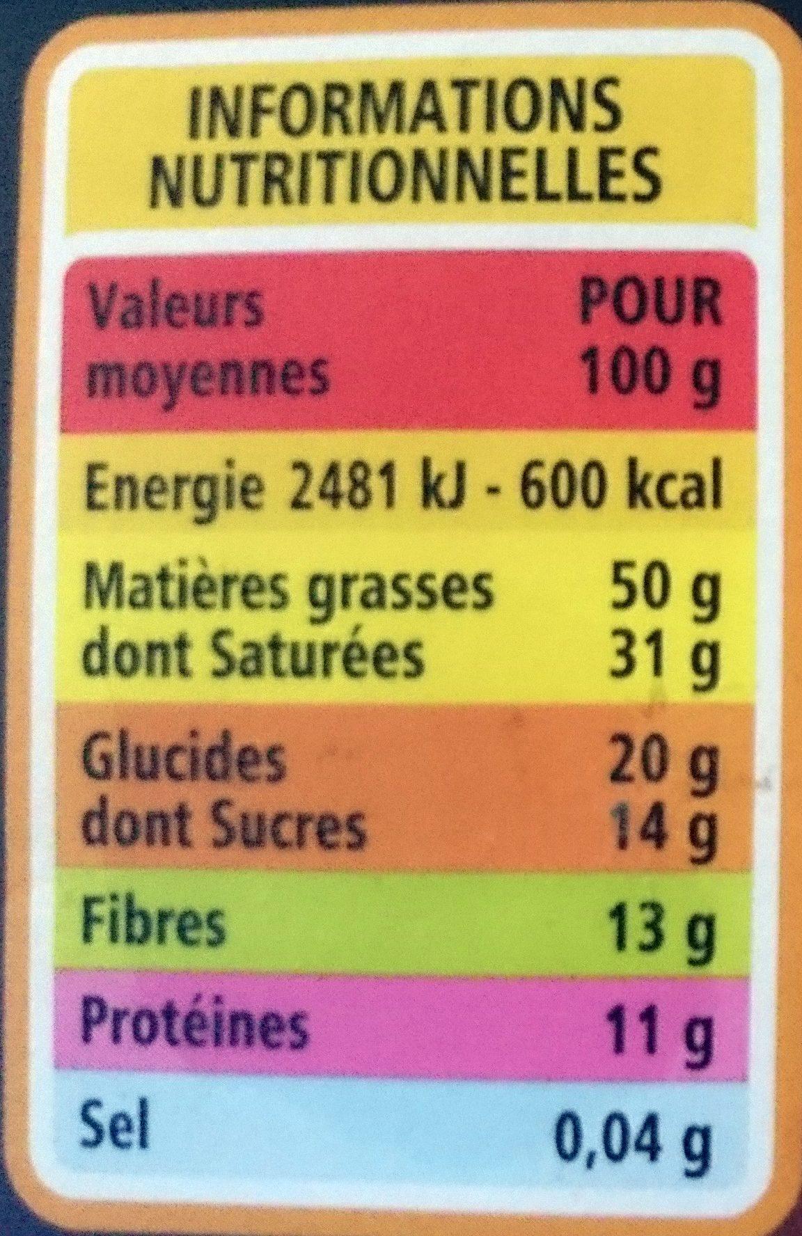 Chocolat noir dégustation 85% origine Pérou Bio - Nutrition facts - fr