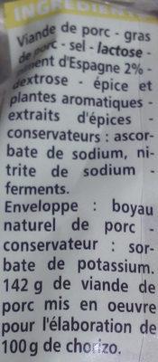 chorizo doux Qualité supérieur - Ingrédients