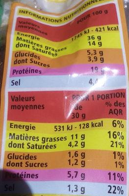 chorizo doux Qualité supérieur - Informations nutritionnelles