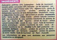 Moussaka Aubergine - Boeuf surgelée - Inhaltsstoffe