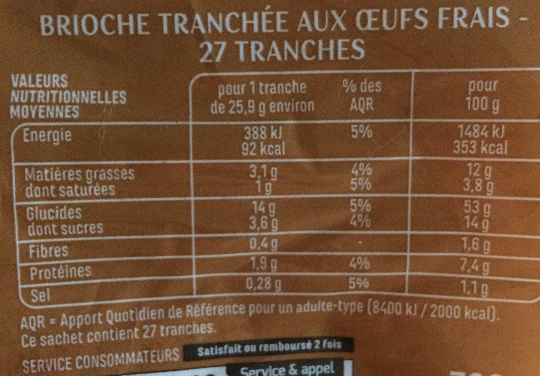 Brioche tranchée aux oeufs frais - Informations nutritionnelles