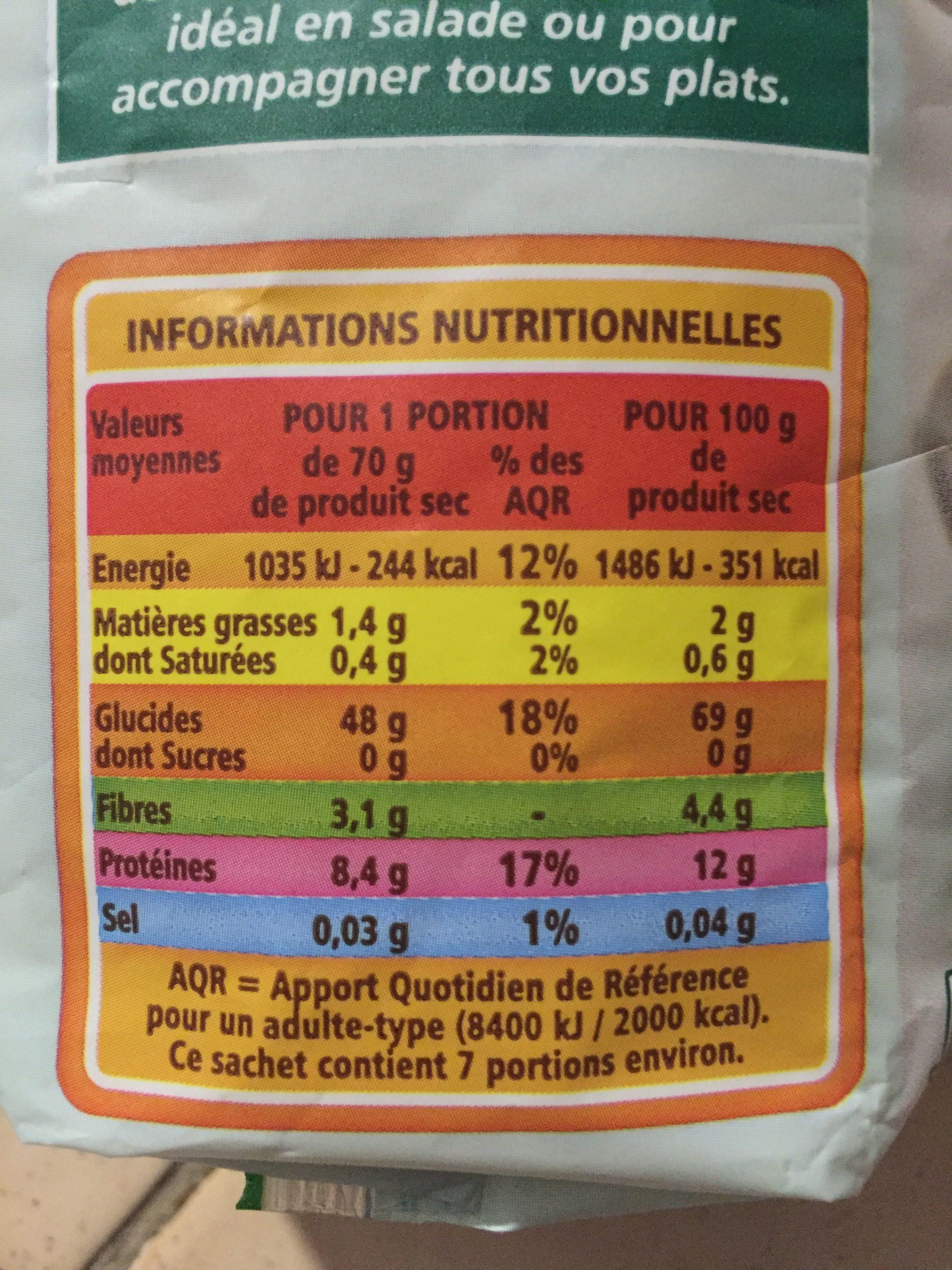 Mélange de riz et de légumes secs bio - Informations nutritionnelles