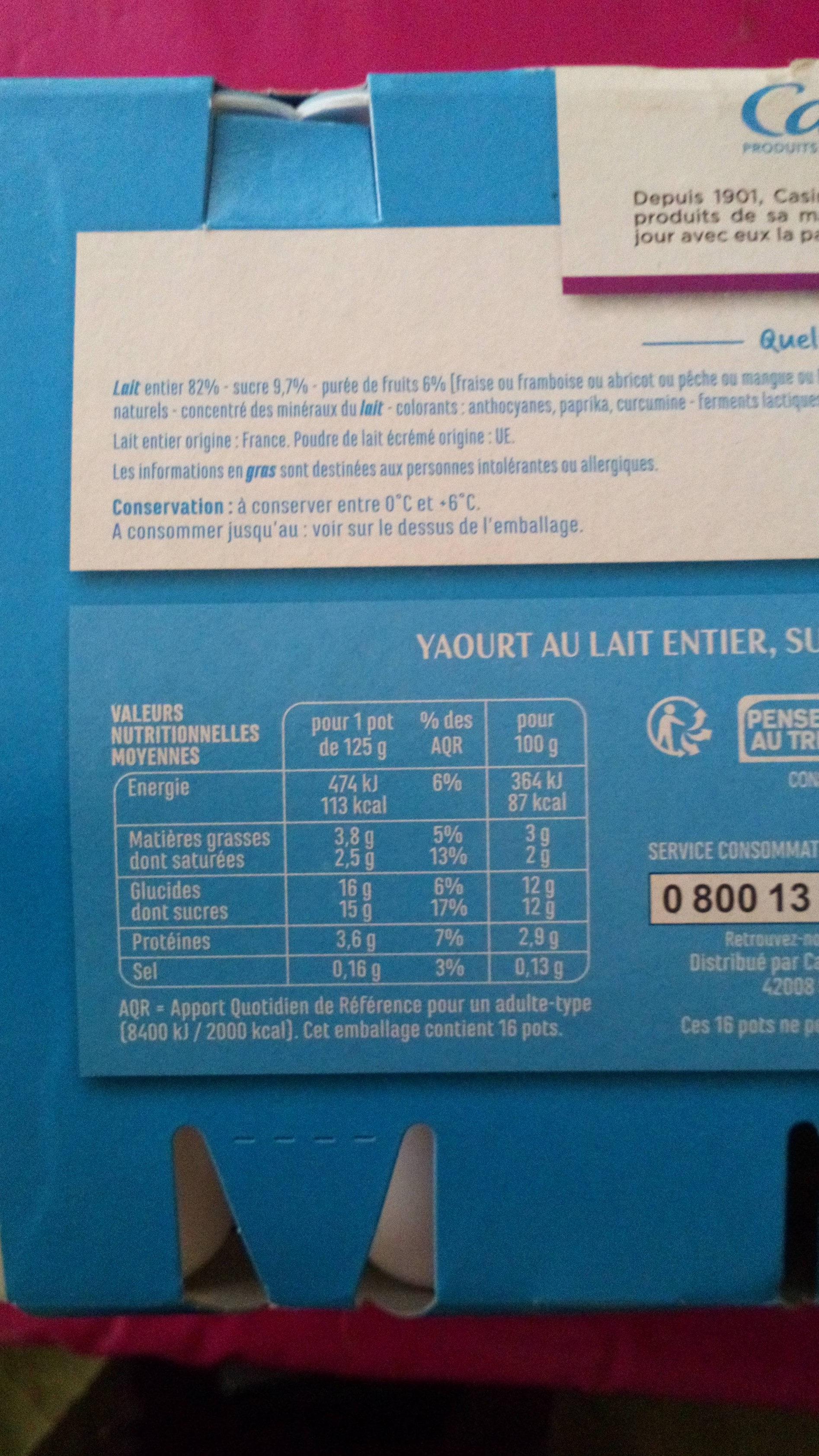 Yaourts brassés aux fruits - Fruits mixés - Nutrition facts - fr