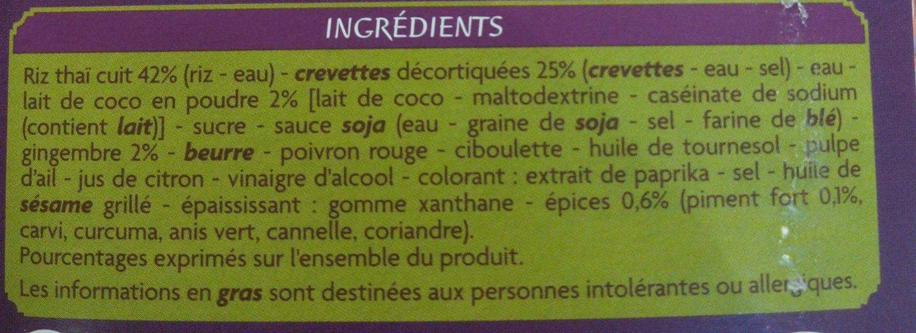 Crevettes lait de coco et riz thaï - Ingrédients - fr