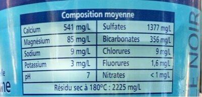Eau Minerale Naturelle - Informations nutritionnelles - fr