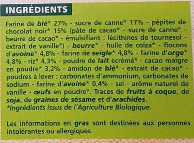 Biscuits petit déjeuner céréales et chocolat - Ingredients - fr