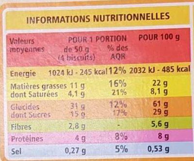 Biscuits petit déjeuner céréales et chocolat - Nutrition facts - fr
