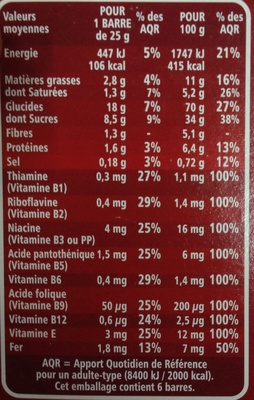 Billes cacao - Informations nutritionnelles