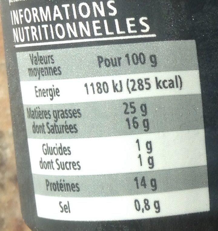 Mozzarella Di Bufala Campana AOP - Tressée à la main - Nutrition facts
