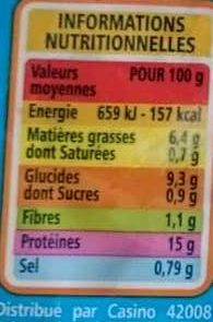 Pavé de calibaud - Nutrition facts