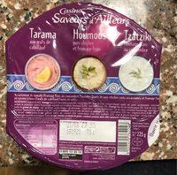 Tarama aux oeufs de cabillaud / Houmous pois chiche et fromage frais / Tzatziki fromage frais et concombre - Product