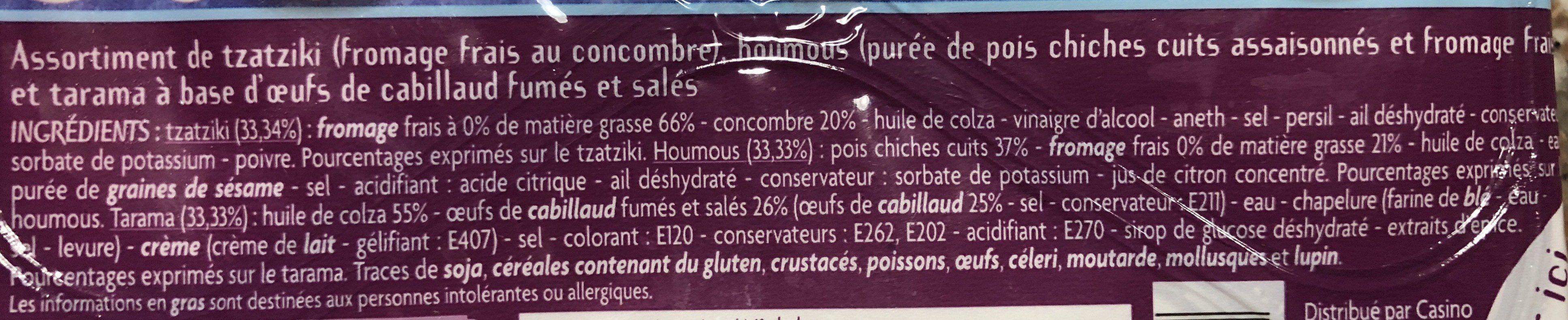 Tarama aux oeufs de cabillaud / Houmous pois chiche et fromage frais / Tzatziki fromage frais et concombre - Ingredients