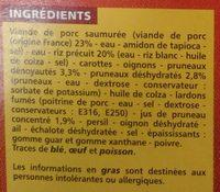 Porc aux pruneaux et riz - Ingrédients