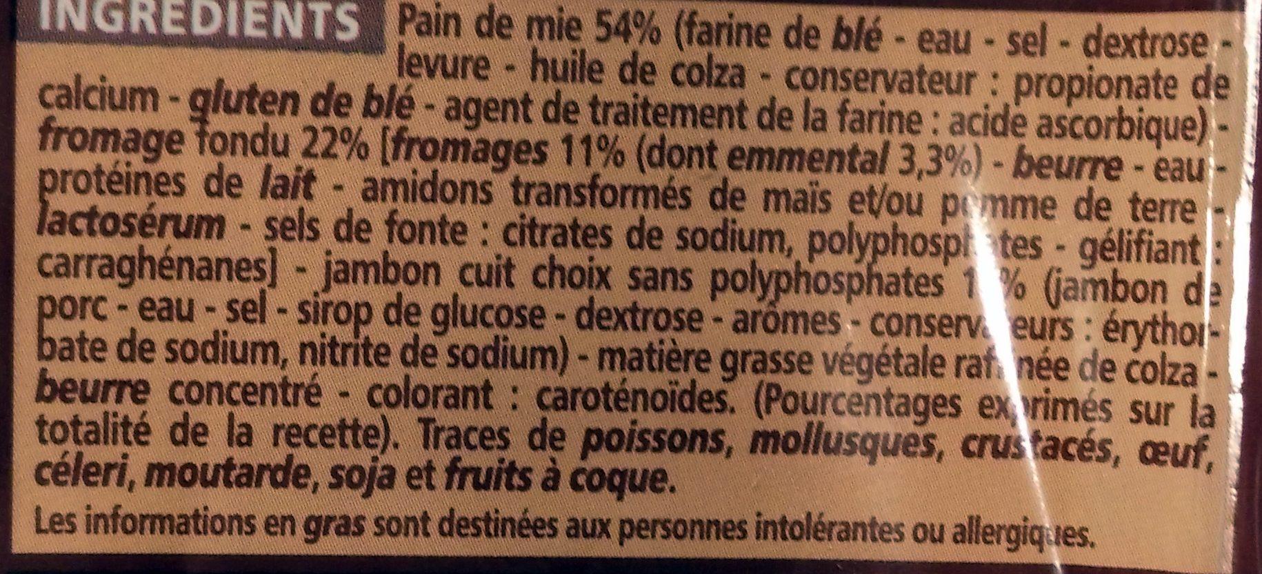 Croque-monsieur A poêler - Ingrédients - fr