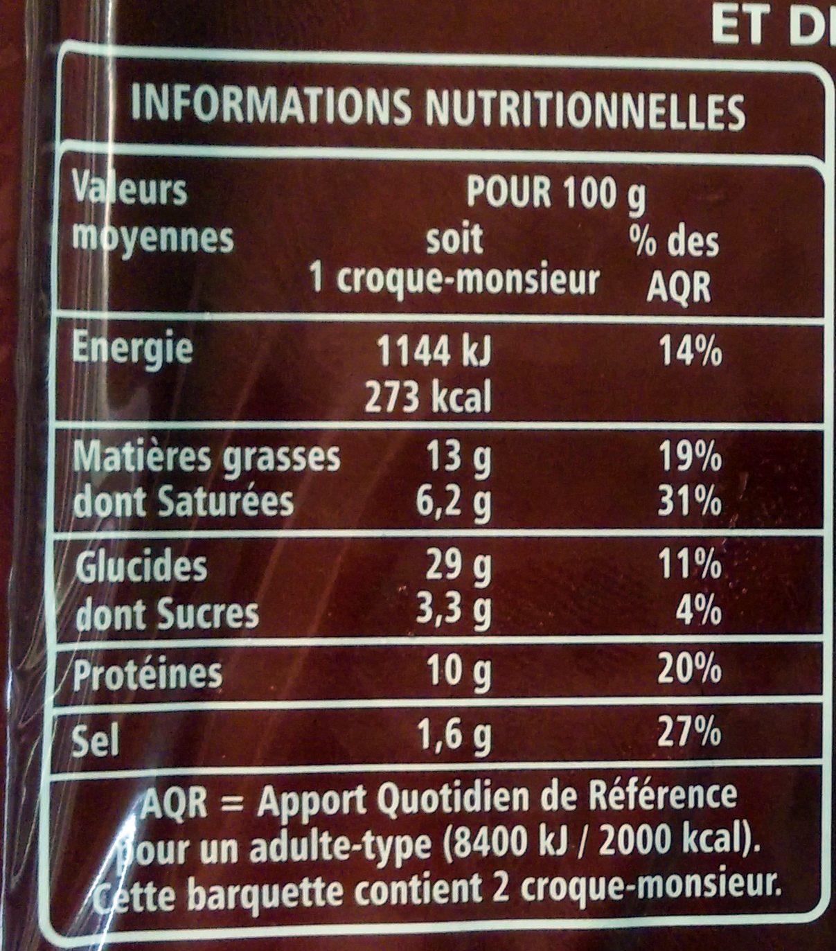 Croque-monsieur A poêler - Informations nutritionnelles - fr